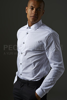 Buy stock photo Studio shot of a handsome young businessman