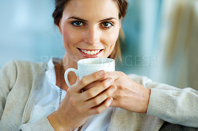 Buy stock photo Lovely young lady drinking a cup of coffee