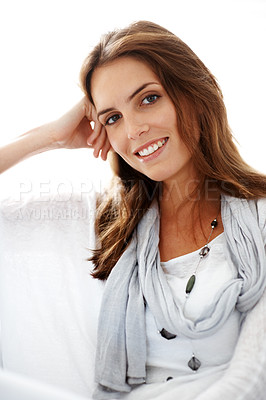 Buy stock photo Happy young female model smiling