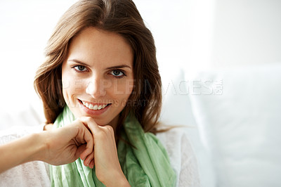 Buy stock photo Lovely young female model smiling