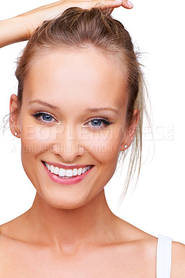 Buy stock photo Closeup portrait of a beautiful young blonde woman smiling broadly isolated on white