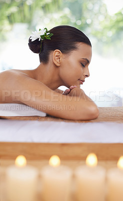 Buy stock photo A young woman relaxing in a beauty spa