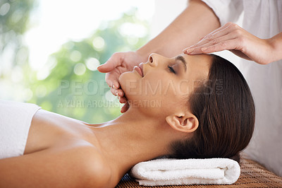 Buy stock photo Cropped shot of a beautiful young woman spending a day at the spa