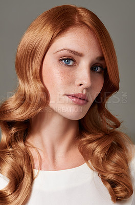 Buy stock photo Portrait of a gorgeous young woman with red hair