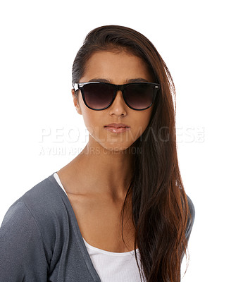 Buy stock photo A beautiful young ethnic woman smiling at the camera while wearing sunglasses