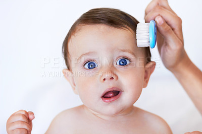 Buy stock photo Portrait of an adorable baby boy getting his hair combed