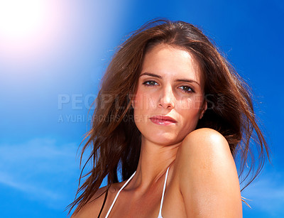 Buy stock photo Pretty young female looking confidently