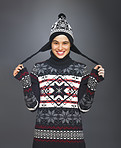 Smiling Girl with Funny Winter Hat