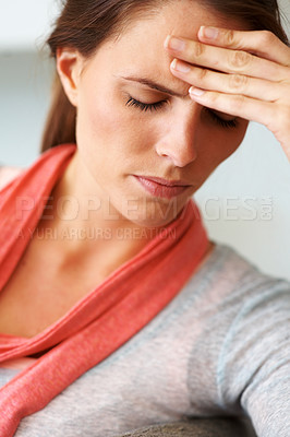 Buy stock photo Closeup of a cute young woman looking frustrated