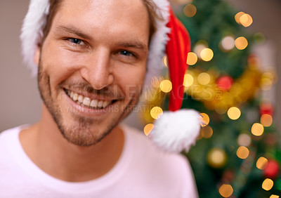 Buy stock photo A handsome man smiling at the camera with a decorated christmas tree in the background