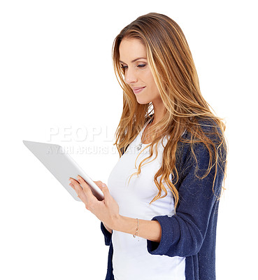 Buy stock photo A beautiful young woman holding a tablet isolated on white
