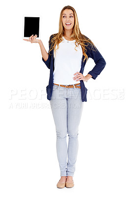Buy stock photo Portrait of a beautiful young woman holding up a digital tablet