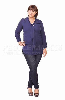 Buy stock photo Portrait of a pretty young woman with her hand on her hip standing on a white background