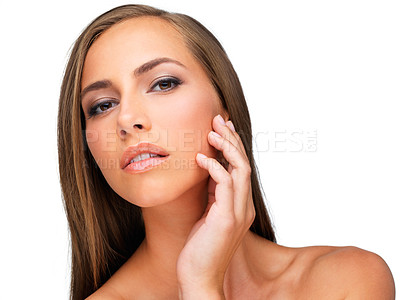Buy stock photo Studio shot of a beautiful brunette woman isolated on white