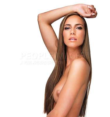 Buy stock photo Studio shot of a beautiful woman isolated on white