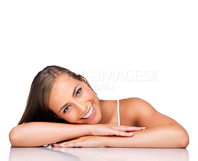 Buy stock photo A young woman isolated on white