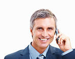 Successful business man conversation on the phone over white