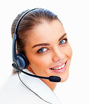 Closeup: Lovely female executive speaking using headphones