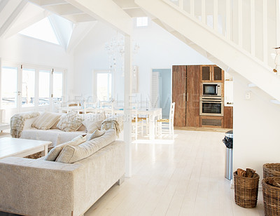 Buy stock photo Spacious modern white interior of a modern home with bright natural light