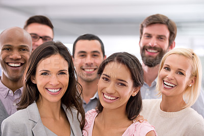 Buy stock photo Cropped shot of a group of positive businesspeople