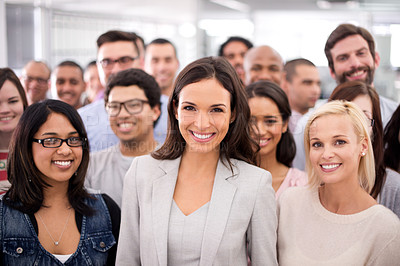 Buy stock photo Cropped shot of a group of smiling businesspeople