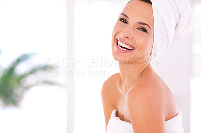 Buy stock photo Portrait of a beautiful woman with pure, perfect skin