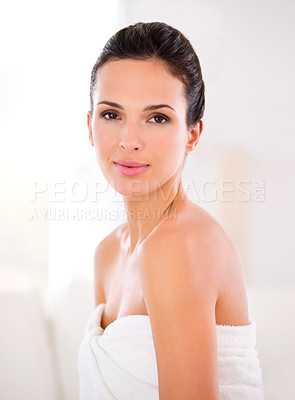 Buy stock photo A beautiful woman with perfect skin looking over her shoulder