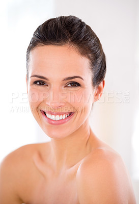 Buy stock photo A beautiful woman with flawless skin smiling at the camera
