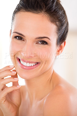 Buy stock photo Portrait of a beautiful woman caressing her perfect skin