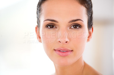 Buy stock photo Portrait of a beautiful woman with flawless skin