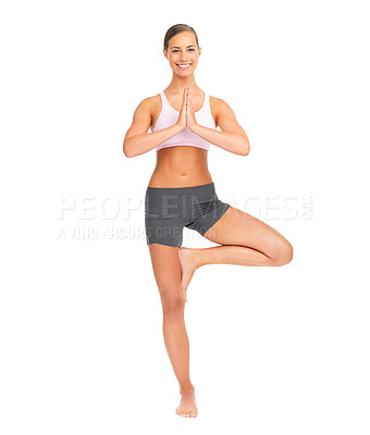 Buy stock photo Studio portrait of a sporty young woman standing in an upright yoga pose