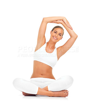 Buy stock photo Portrait of a young woman in a seated yoga pose