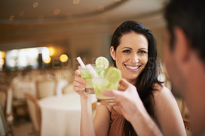 Buy stock photo Shot of a beautiful young woman on a date with her partner