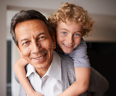 Buy stock photo Portrait of a grandfather and his grandson