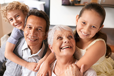 Buy stock photo Shot of grandparents and their grandchildren