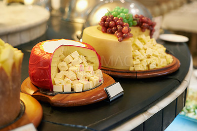 Buy stock photo A selection of cheese beautiful displayed