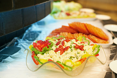 Buy stock photo An arrangement of salads on a buffet table