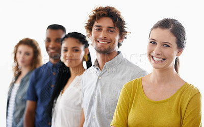 Buy stock photo Cropped shot of a group of work colleagues against a white background