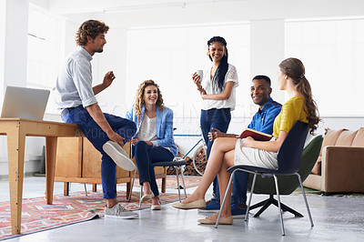 Buy stock photo Young people chatting in the office