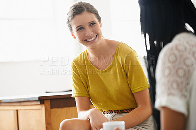 Buy stock photo Two women chatting in the office