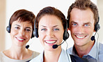 Team of happy call centre employee's
