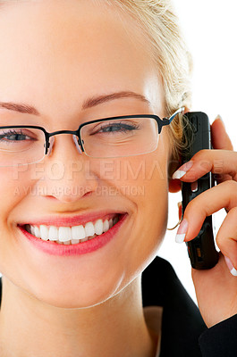 Buy stock photo Studio shot of a young businesswoman talking on her cellphone