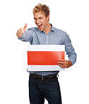 Thumbs up: Young man holding blank billboard on white
