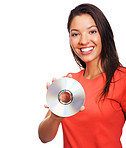 Young woman with CD smiling over white background