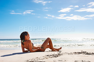 Buy stock photo Portrait of a sexy attractive girl on the beach
