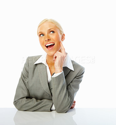 Buy stock photo Portrait of a happy business woman lost in thoughts