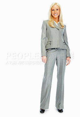 Buy stock photo Full length image of a pretty business woman isolated on white