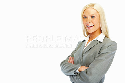 Buy stock photo Successful young business woman with hands folded over a white background
