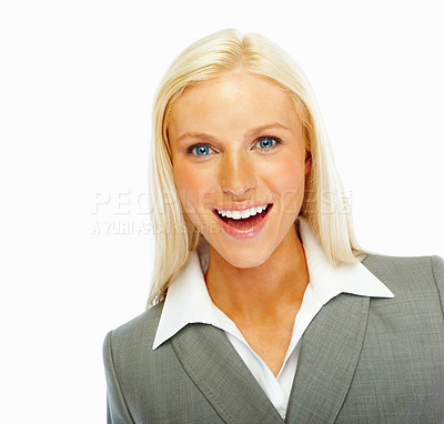Buy stock photo Happy young business woman isolated against white background