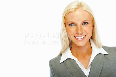 Buy stock photo Portrait of a pretty young business woman smiling on white background
